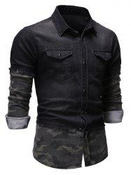 2 in 1 Frayed Hem Button Up Denim Shirt -