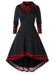 Plus Size High Low Plaid Midi Flare Dress -