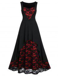 Rose Lace Insert High Low Party Dress -