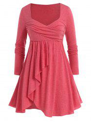 Plus Size Sweehteart Collar Tunic Slit T Shirt -
