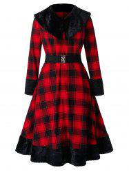 Plus Size Checked Turn-down Collar Faux Fur Panel Coat -