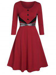 Round Collar Fit And Flare Sequined Dress -