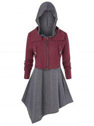 Plus Size Zip Fly Cardigan and Hooded Asymmetric Top Set -