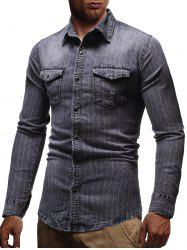 Pinstriped Distressed Denim Button Up Shirt -