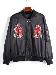Plus Size Flower Embroidered Pocket Zip Up Pilot Jacket -