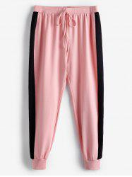 Plus Size Two Tone Contrast Tied Jogger Gym Pants -