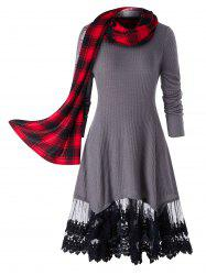 Plus Size Lace Trim Long Tunic Knitwear With Plaid Scarf -