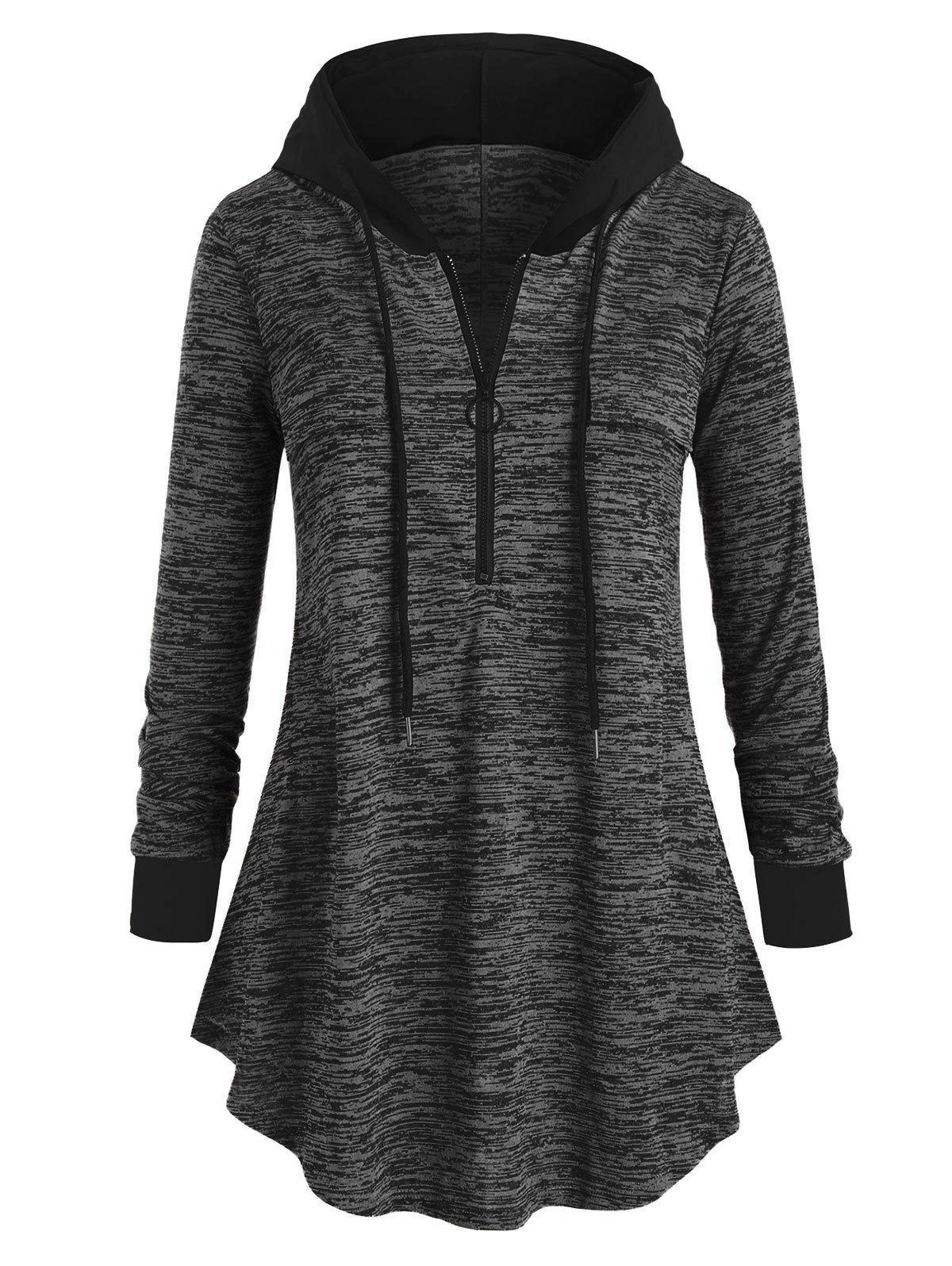 Cheap Plus Size Space Dye Half-zip Hooded Tunic Top