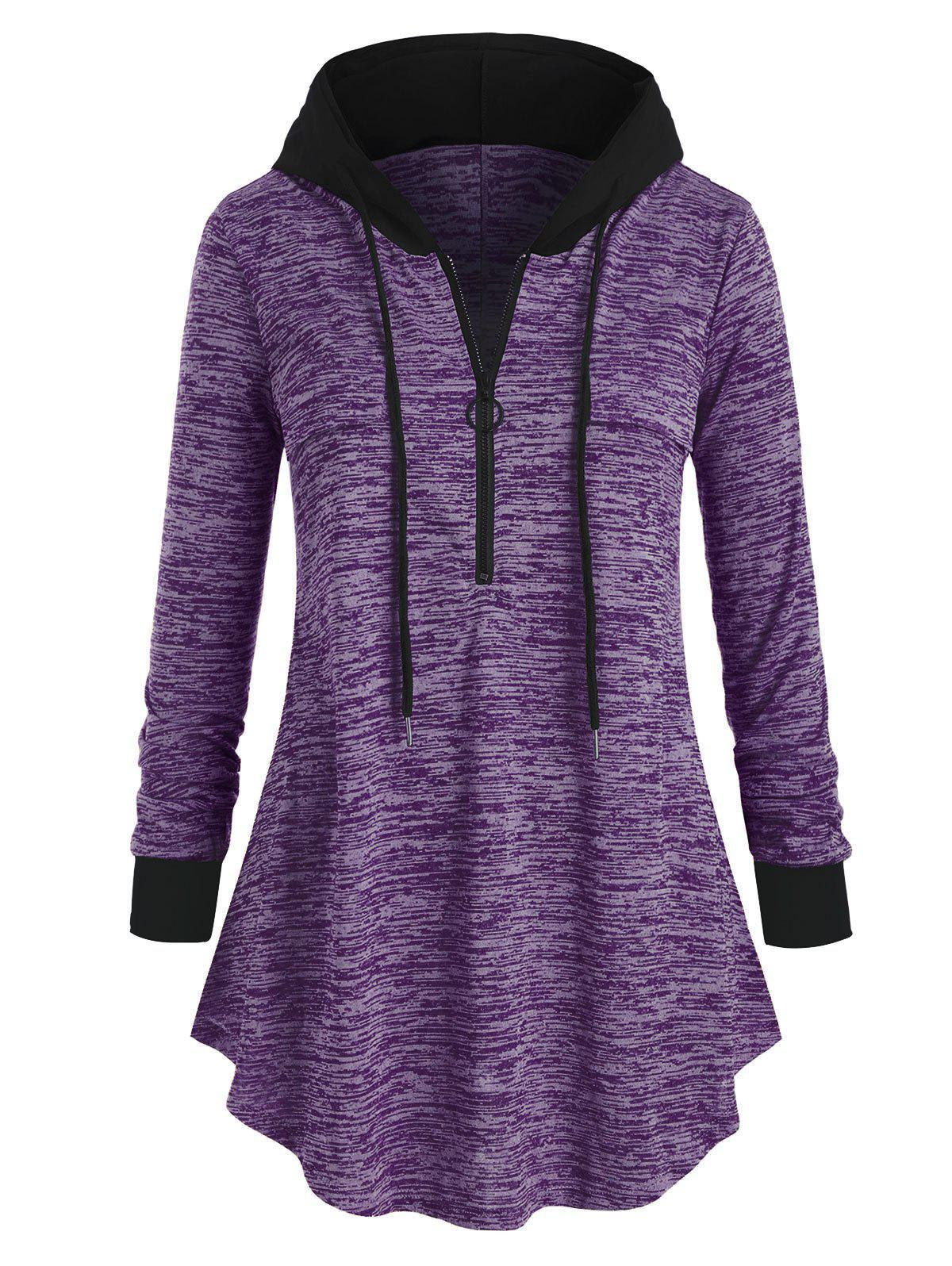 Hot Plus Size Space Dye Half-zip Hooded Tunic Top