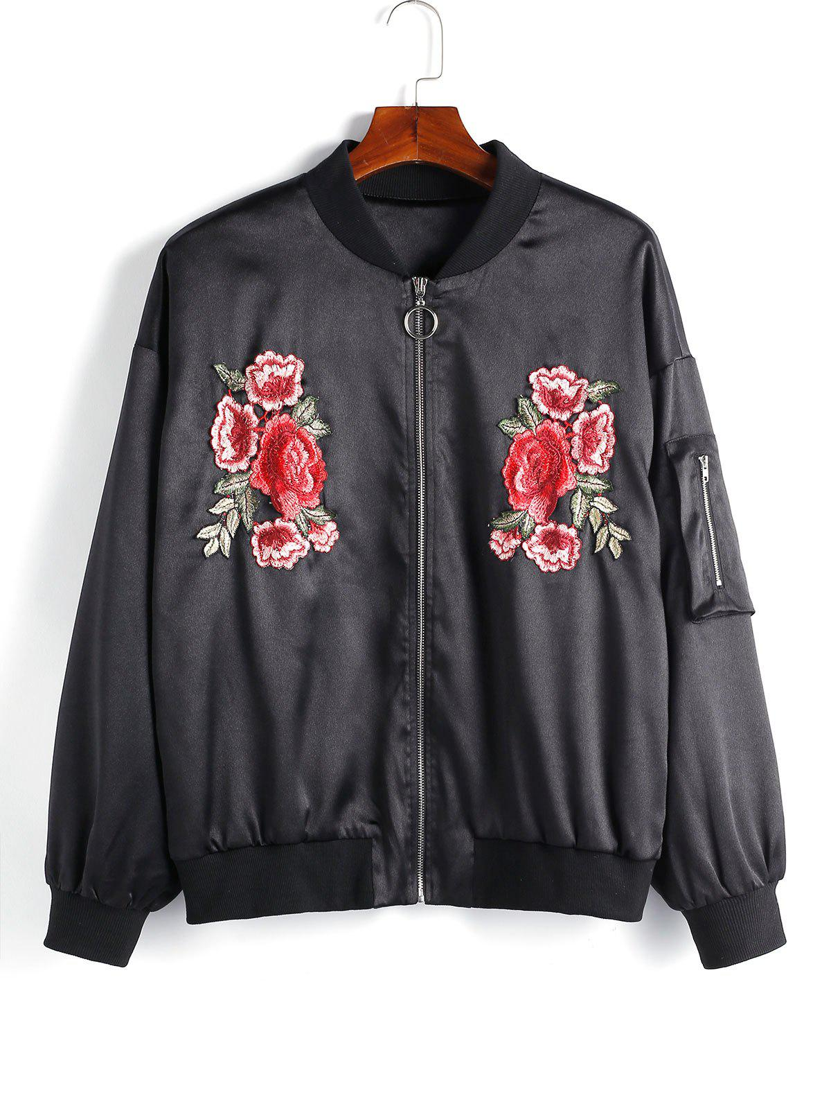 Latest Plus Size Flower Embroidered Pocket Zip Up Pilot Jacket