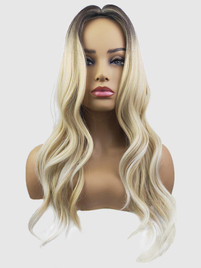 Affordable Middle Part Capless Long Wavy Colormix Synthetic Wig