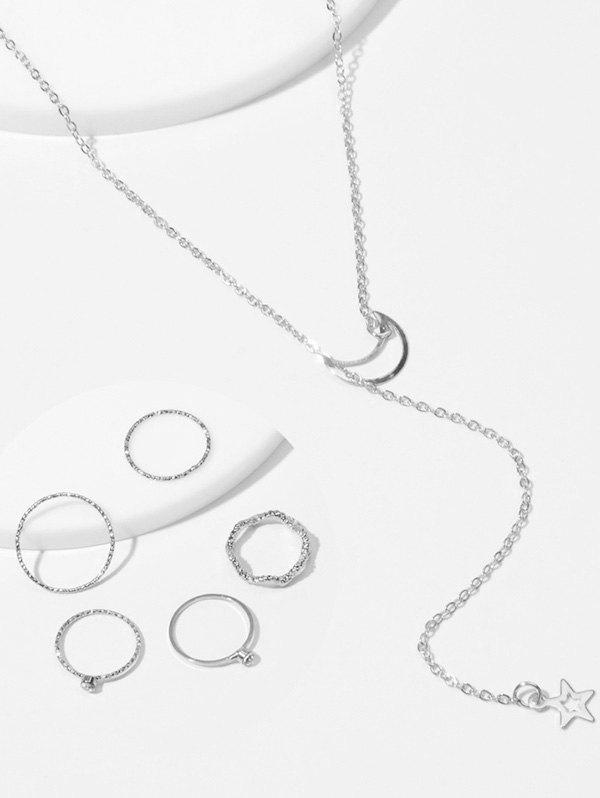 Shops Simple Moon Star Chain Necklace And Rings Set
