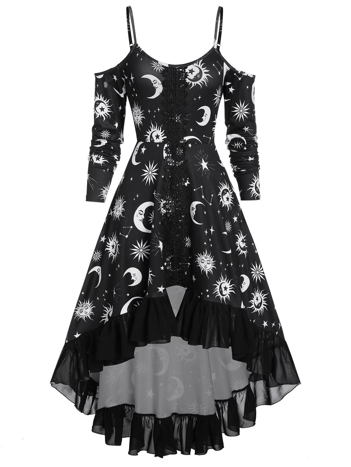 Unique Spaghetti Strap Open Shoulder Sun and Moon Print Gothic Dress