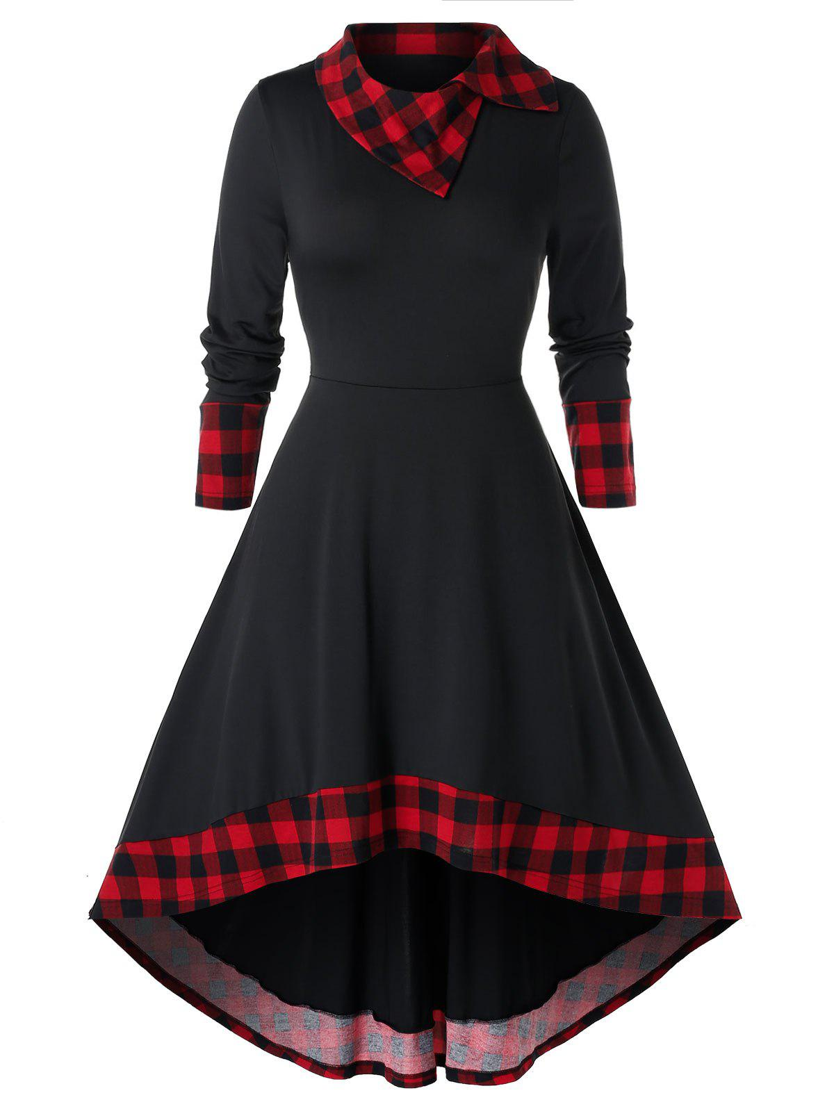 Outfit Plus Size High Low Plaid Midi Flare Dress