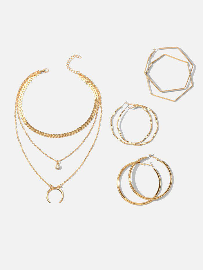 Latest Multilayered Crescent Moon Necklace And Simple Hoop Earrings Set