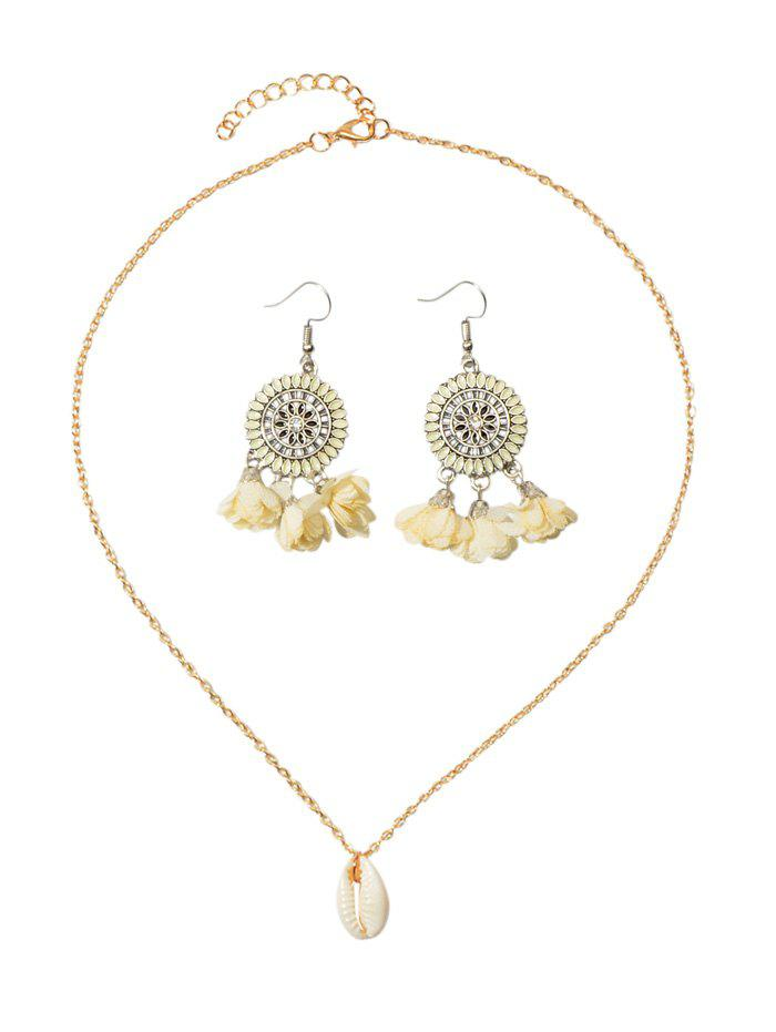 Hot Bohemian Shell Necklace Flower Tassel Earrings Set