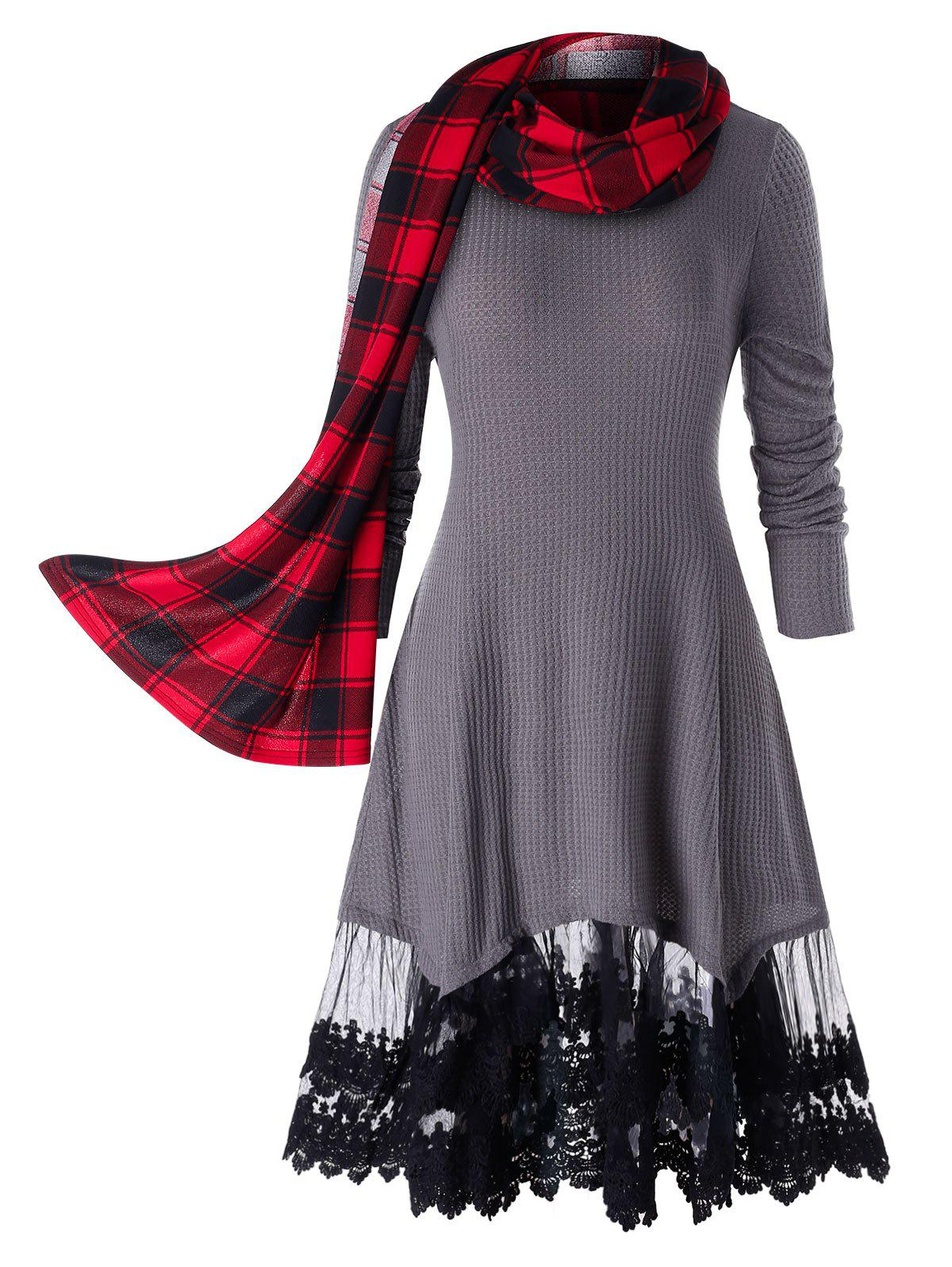 Fancy Plus Size Lace Trim Long Tunic Knitwear With Plaid Scarf