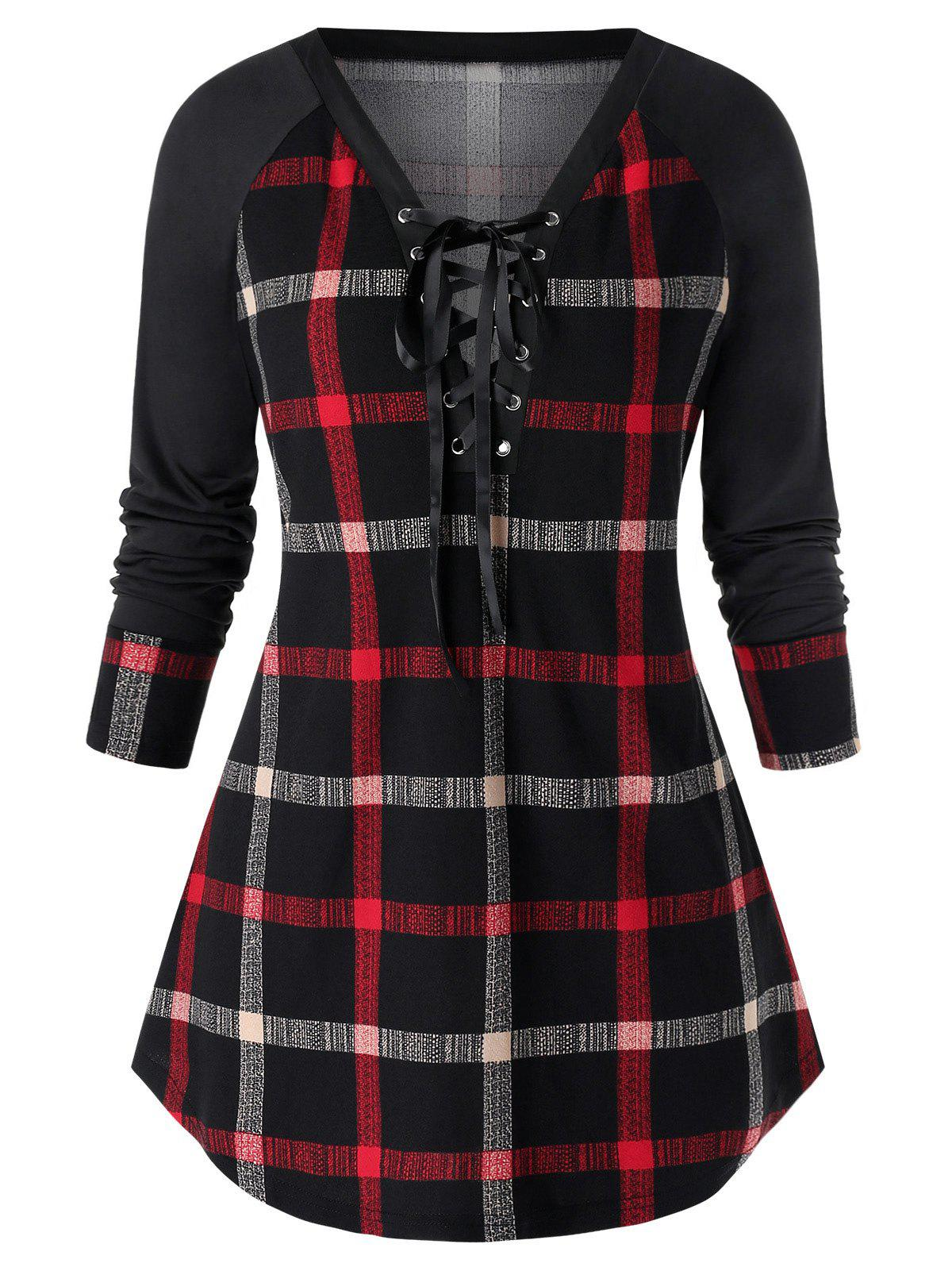 Plus Size Raglan Sleeve Checked Tunic Sweatshirt фото