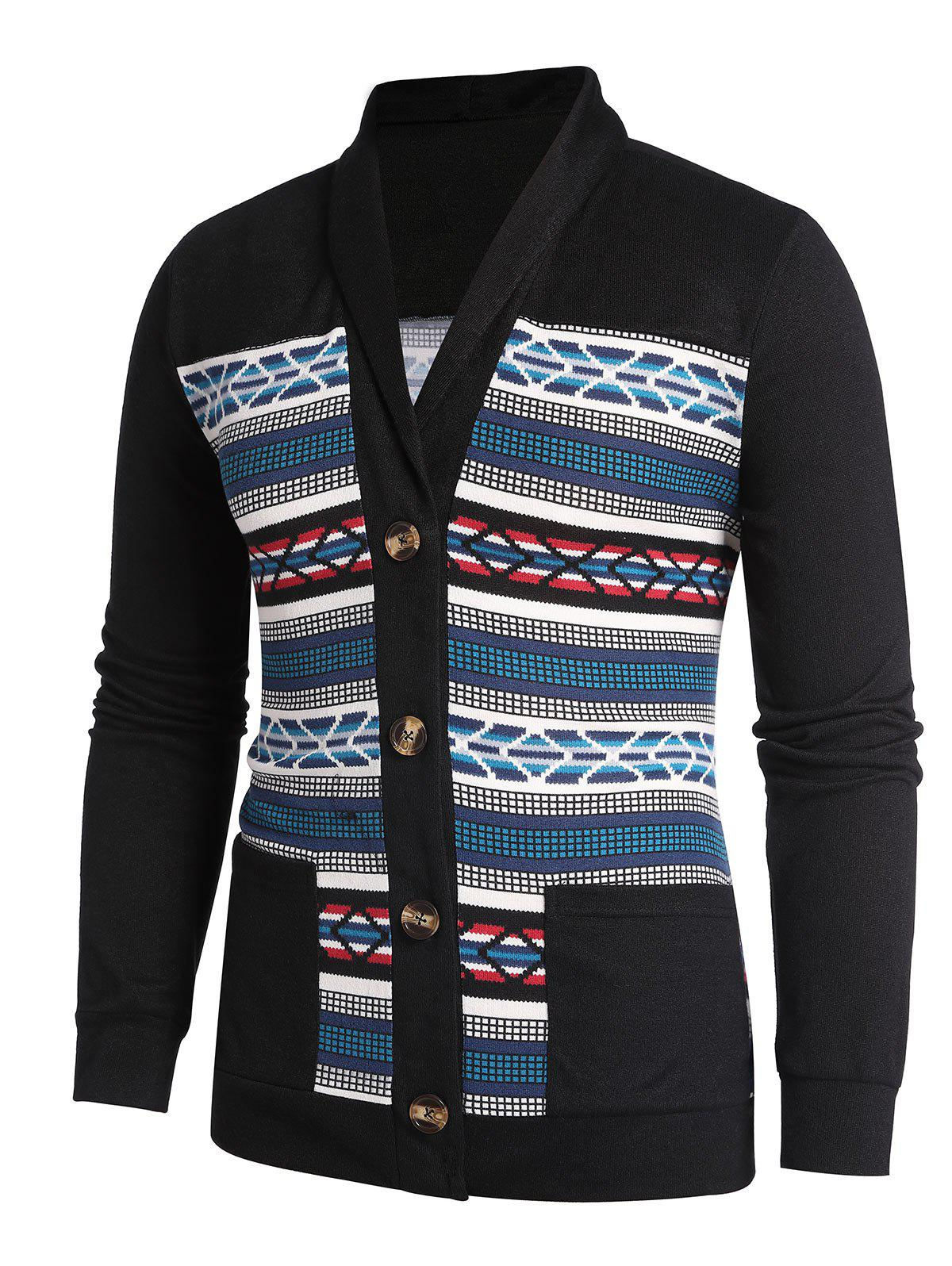 Unique Shawl Collar Geometry Button Up Cardigan