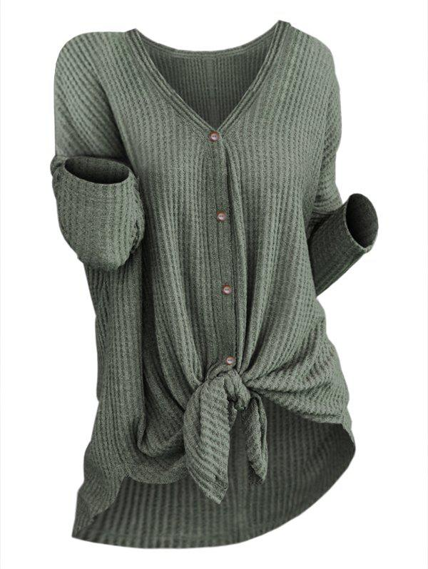 Fashion Plus Size High Low Knotted Knit Cardigan
