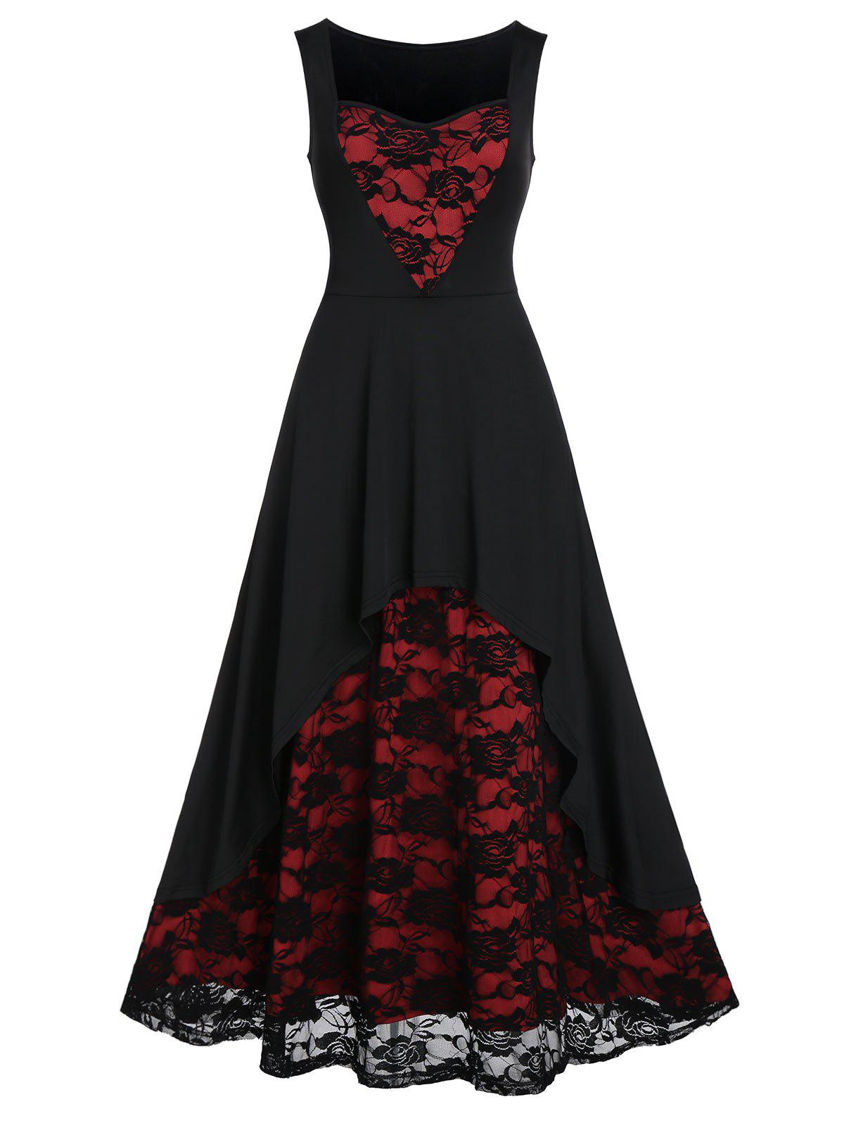 Unique Rose Lace Insert High Low Party Dress