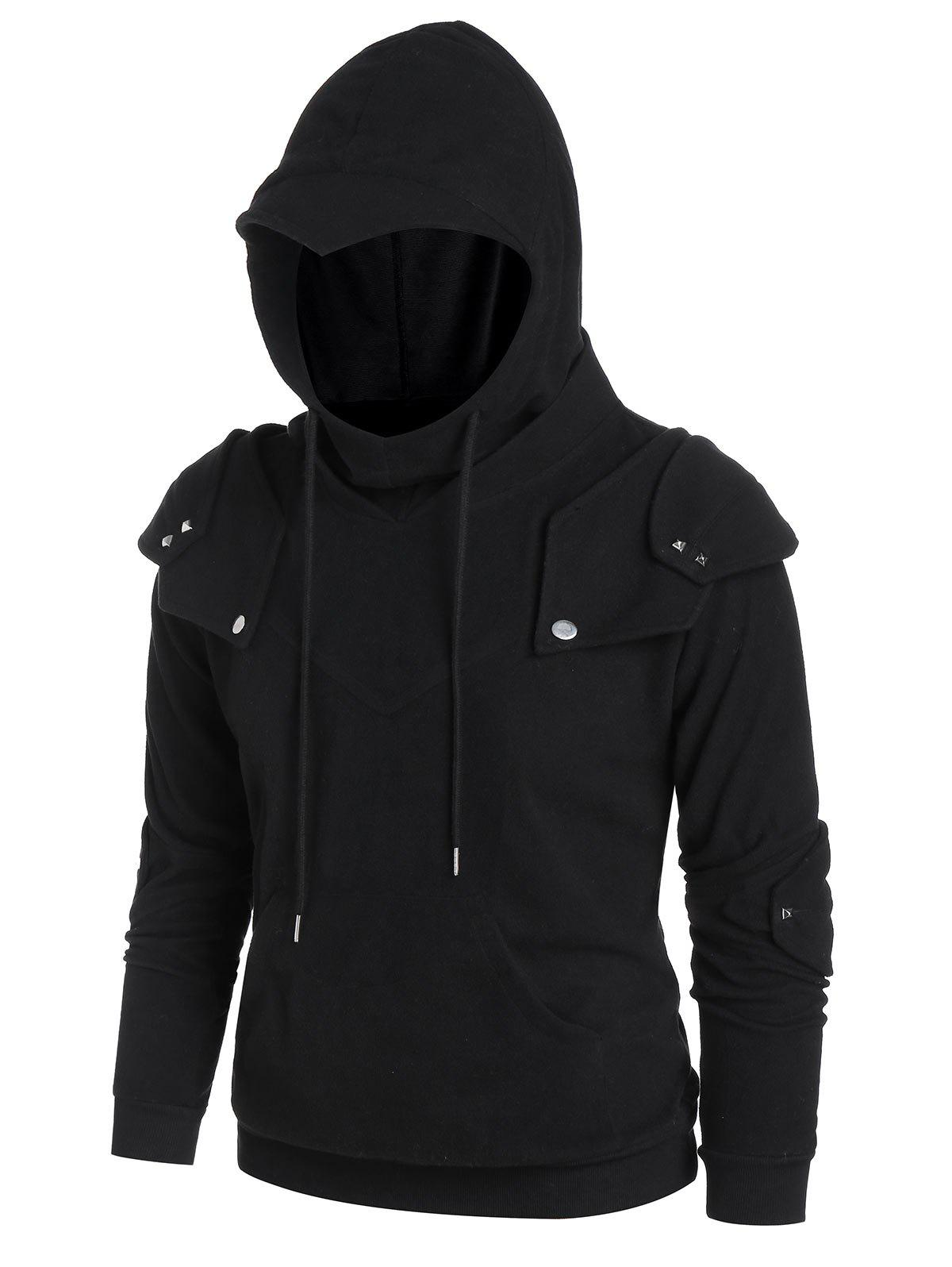 Cheap Drawstring Pocket Rivets Knight Soldier Hoodie
