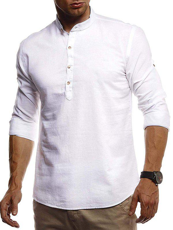 Hot Stand Collar Henley Linen Long Sleeve Shirt