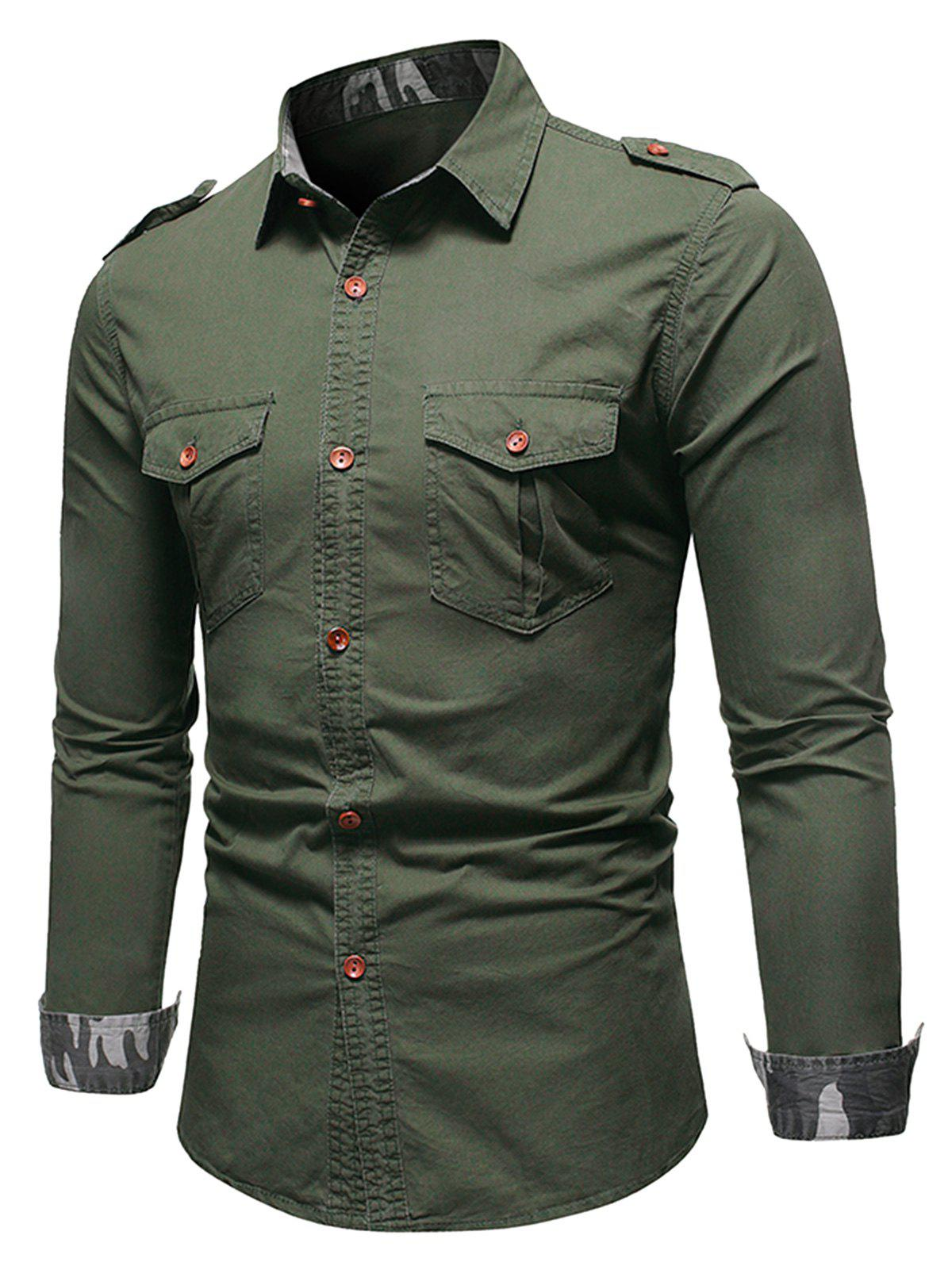 Cheap Camo Trim Button Up Cargo Shirt