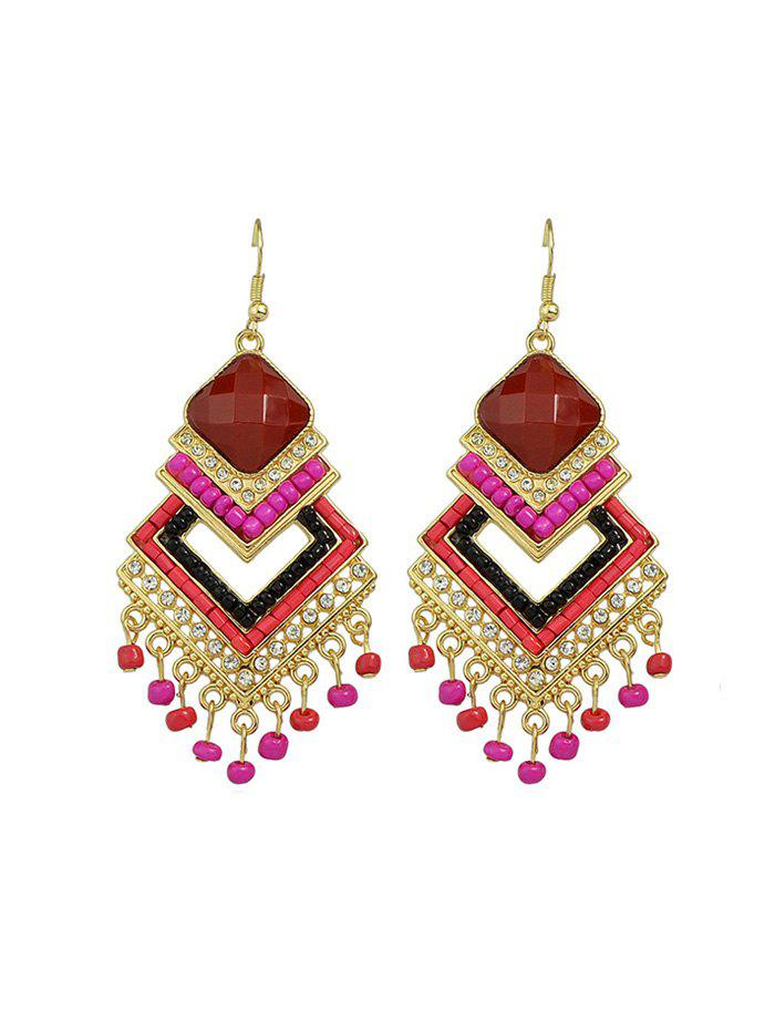 Store Bohemian Geometric Fringe Beads Rhinestone Earrings