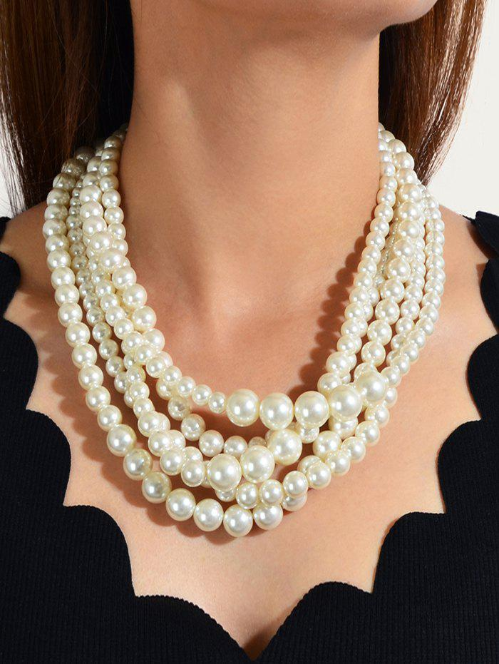 Buy Multilayered Faux Pearl Chunky Necklace