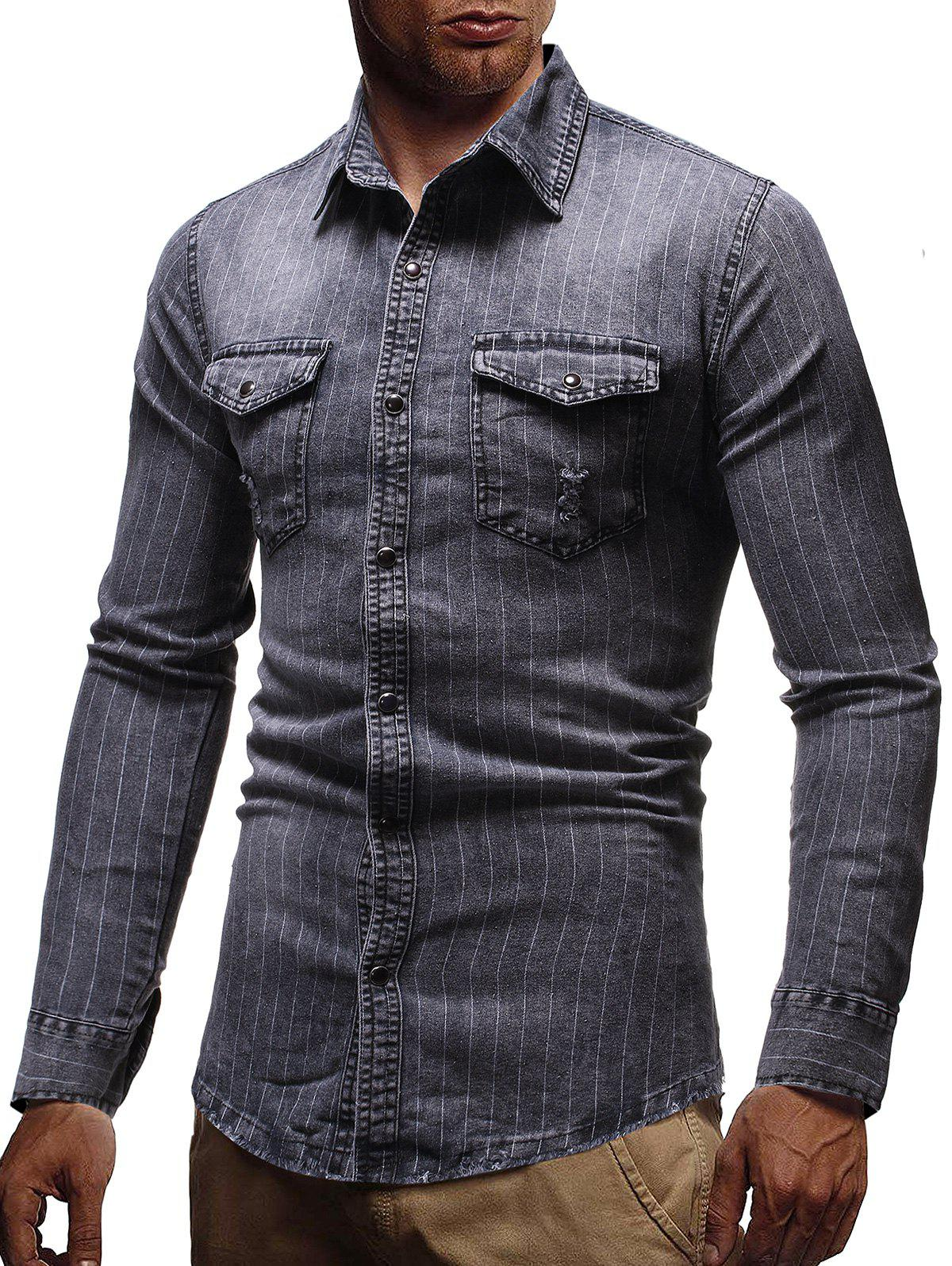 New Pinstriped Distressed Denim Button Up Shirt