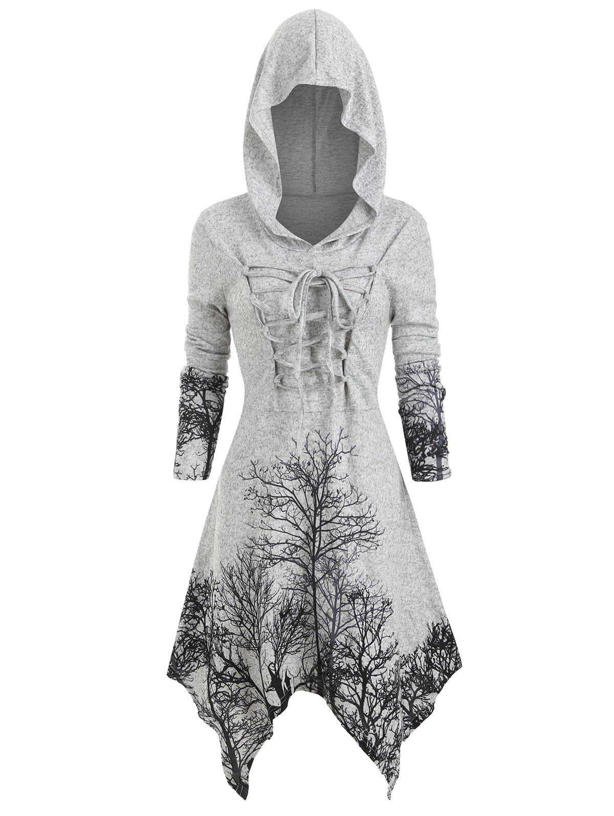 Outfits Plus Size Halloween Lace Up Tree Print Knitted Dress