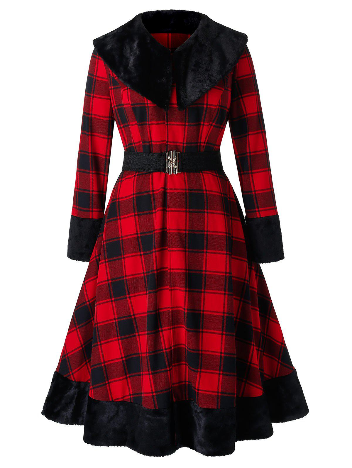 Discount Plus Size Checked Turn-down Collar Faux Fur Panel Coat