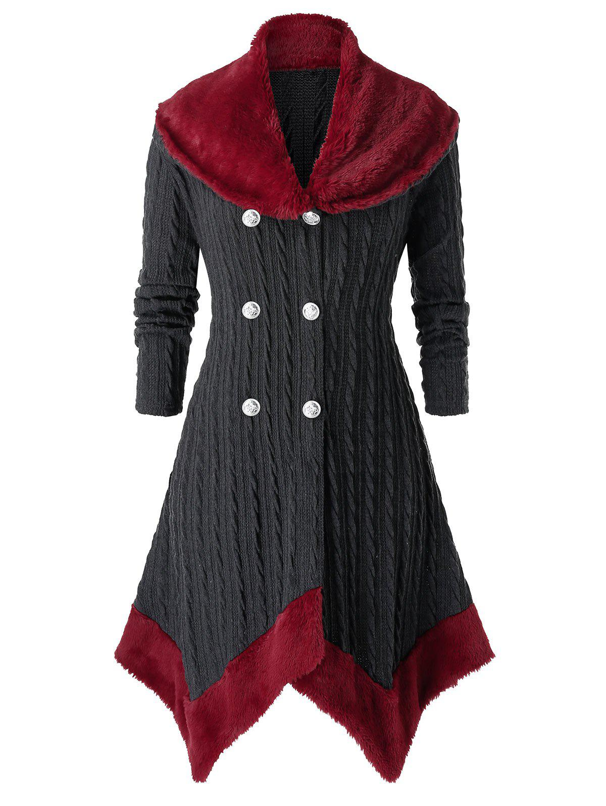 Sale Plus Size Handkerchief Contrast Faux Fur Cable Knit Cardigan
