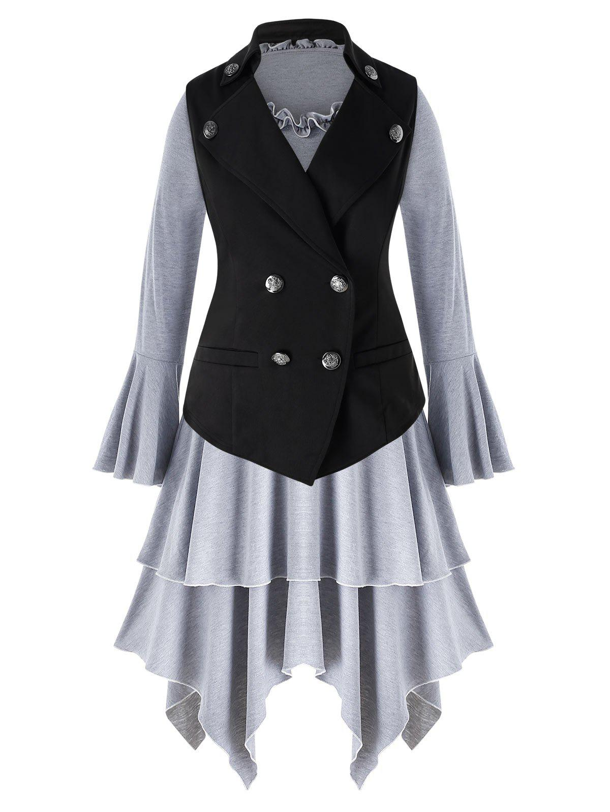 Outfits Plus Size Ruffle Asymmetric Dress with Solid Vest