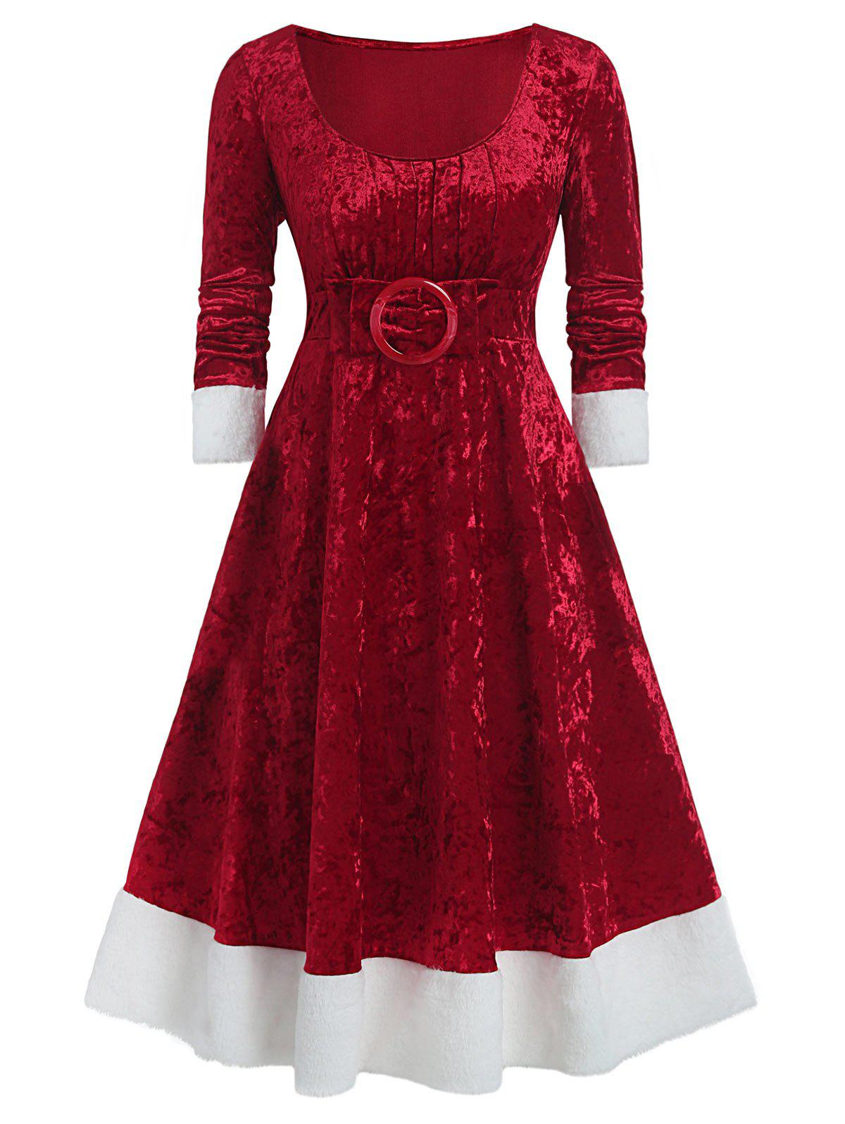 Latest Plus Size Christmas O-ring Bowknot Contrast Velvet Midi Dress