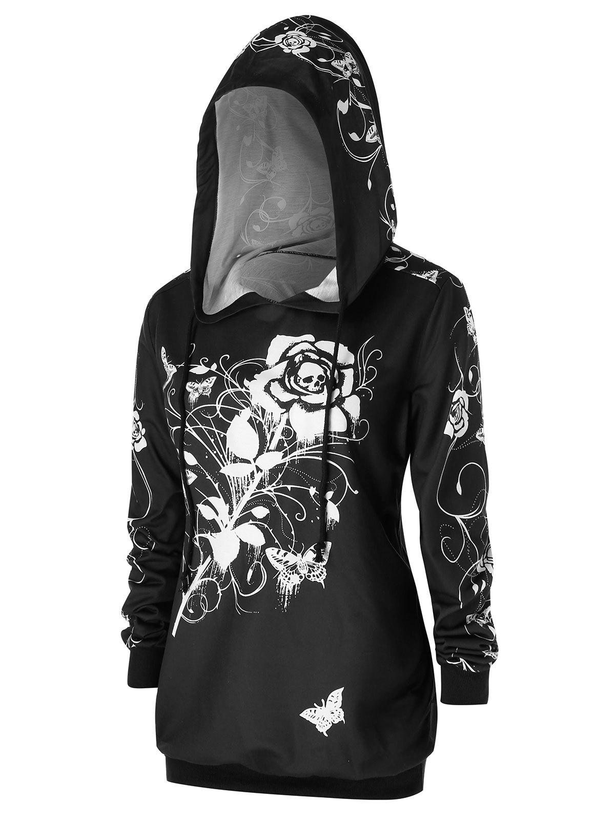 Cheap Plus Size Halloween Rose Skull Print Gothic Hoodie
