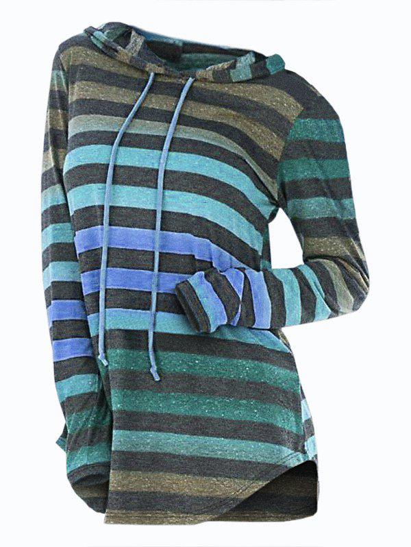 Cheap Striped Hooded Drawstring Longline Knitwear