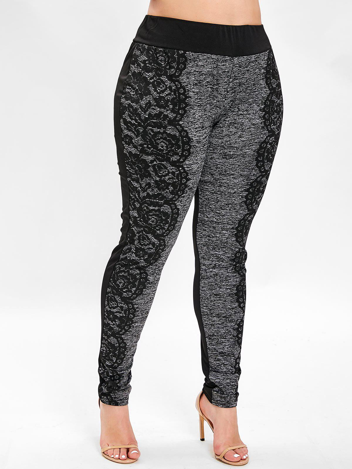 Fashion Plus Size Space Dye 3D Lace Print Leggings