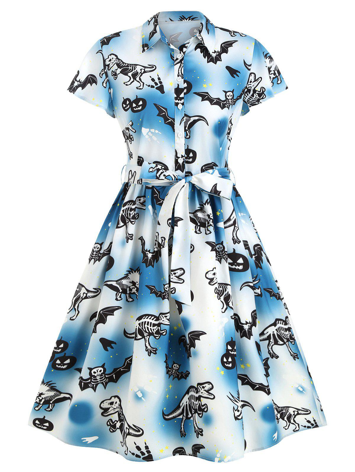 Shops Bat Dinosaur Skeleton Halloween Belted A Line Dress