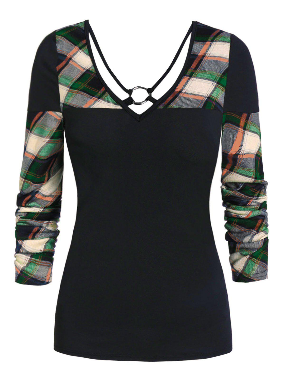 Buy V Neck Plaid Panel Long Sleeve T Shirt