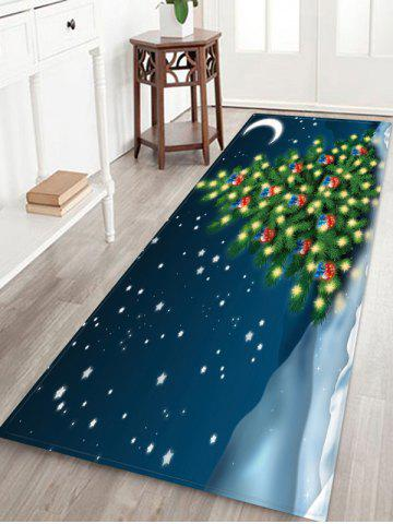 Christmas Tree Snow Moon Print Floor Rug