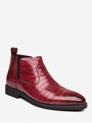 Snakeskin Embossed Pointed Toe Chelsea Boots