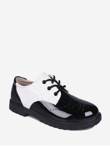 Wingtip Patent Leather Round Toe Shoes - WHITE - EU 35