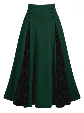 Halloween Skull Lace Insert Mock Button Lace-up Skirt