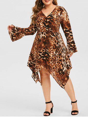 Plus Size Handkerchief Leopard Print Midi Dress