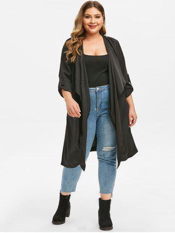 Plus Size Waterfall Collar Longline Trench Coat