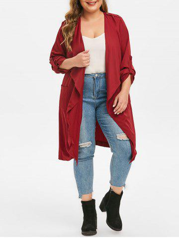 Plus Size Waterfall Collar Longline Trench Coat - RED WINE - M