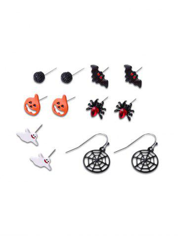 6 Pairs Halloween Pumpkin Ghost Bat Earrings Set