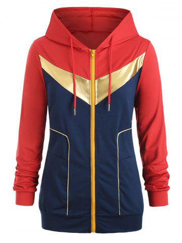 Plus Size Gilding Piping Colorblock Zip Up Hoodie